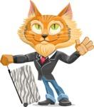 Wild Cat Businessman Cartoon Vector Character AKA Mr. Furrington - Travel 1