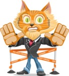 Wild Cat Businessman Cartoon Vector Character AKA Mr. Furrington - Under Construction 2