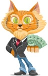 Wild Cat Businessman Cartoon Vector Character AKA Mr. Furrington - With Cash Money