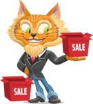 Wild Cat Businessman Cartoon Vector Character AKA Mr. Furrington - With Sale Boxes