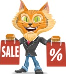 Wild Cat Businessman Cartoon Vector Character AKA Mr. Furrington - With Shopping Bags