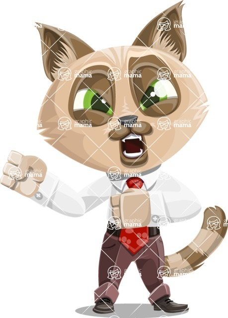 Business Cat Cartoon Vector Character AKA Tom Catson - Angry