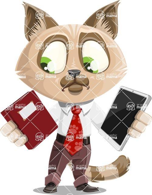 Business Cat Cartoon Vector Character AKA Tom Catson - Book and iPad