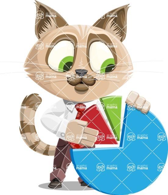 Business Cat Cartoon Vector Character AKA Tom Catson - Chart