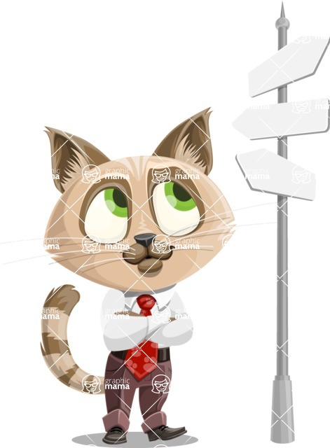 Business Cat Cartoon Vector Character AKA Tom Catson - Crossroad