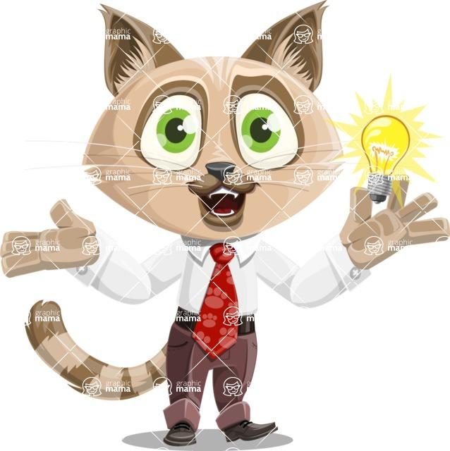 Business Cat Cartoon Vector Character AKA Tom Catson - Idea 1