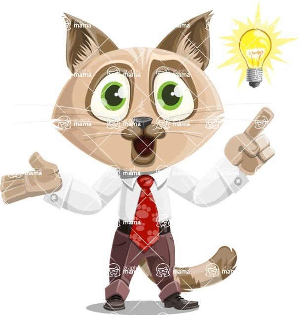 Business Cat Cartoon Vector Character AKA Tom Catson - Idea 2