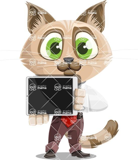 Business Cat Cartoon Vector Character AKA Tom Catson - iPad 2