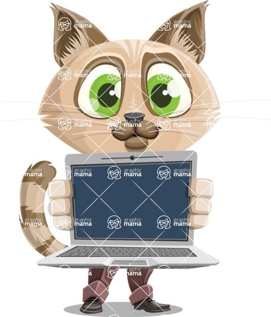 Business Cat Cartoon Vector Character AKA Tom Catson - Laptop 2