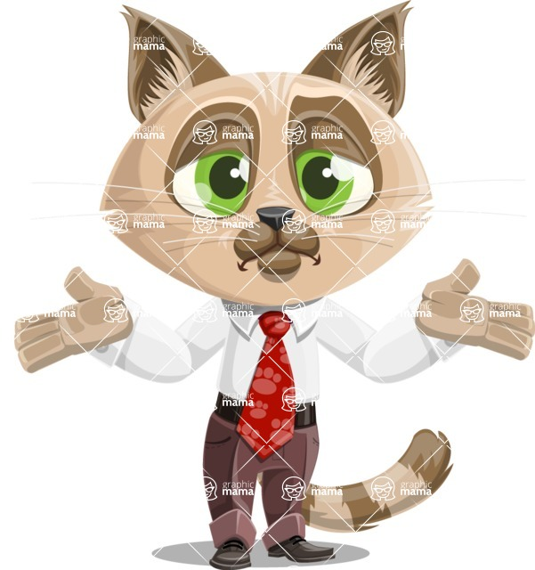 Business Cat Cartoon Vector Character AKA Tom Catson - Lost