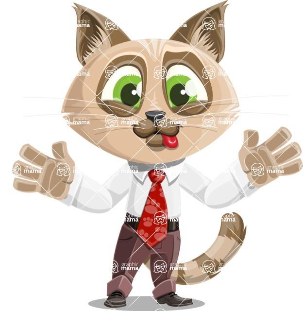 Business Cat Cartoon Vector Character AKA Tom Catson - Making Face