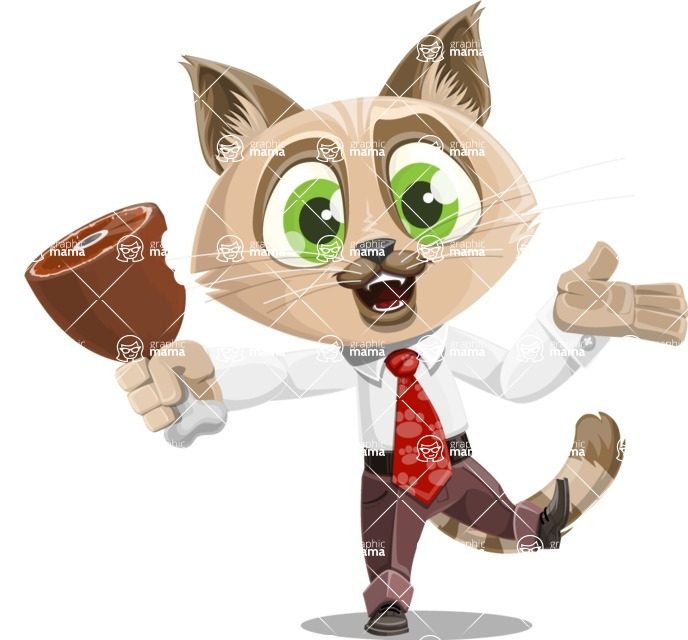 Business Cat Cartoon Vector Character AKA Tom Catson - Meat