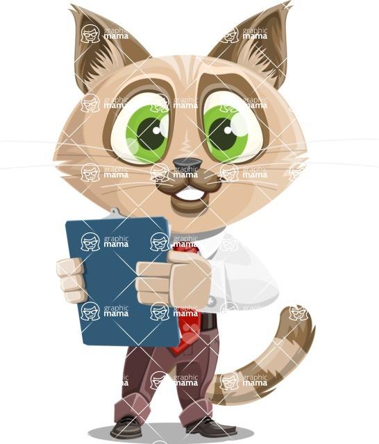 Business Cat Cartoon Vector Character AKA Tom Catson - Notepad 2