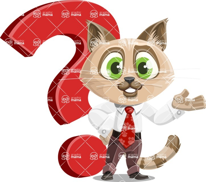 Business Cat Cartoon Vector Character AKA Tom Catson - Question
