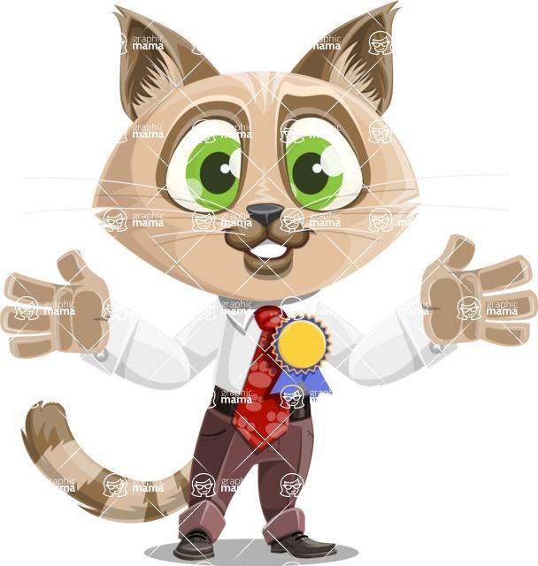 Business Cat Cartoon Vector Character AKA Tom Catson - Ribbon
