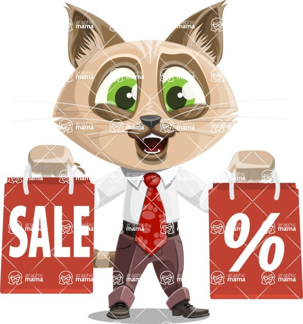 Business Cat Cartoon Vector Character AKA Tom Catson - Sale 2