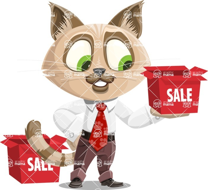 Business Cat Cartoon Vector Character AKA Tom Catson - Sale