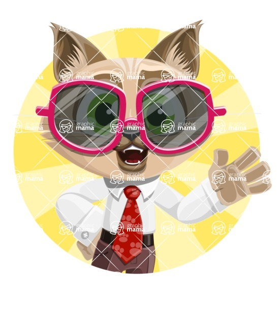 Business Cat Cartoon Vector Character AKA Tom Catson - Shape 3