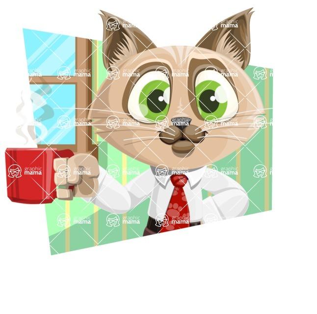Business Cat Cartoon Vector Character AKA Tom Catson - Shape 4