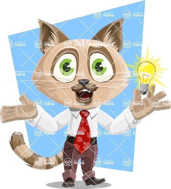 Business Cat Cartoon Vector Character AKA Tom Catson - Shape 5