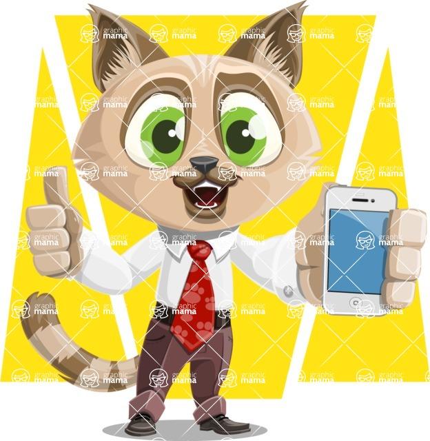 Business Cat Cartoon Vector Character AKA Tom Catson - Shape 6
