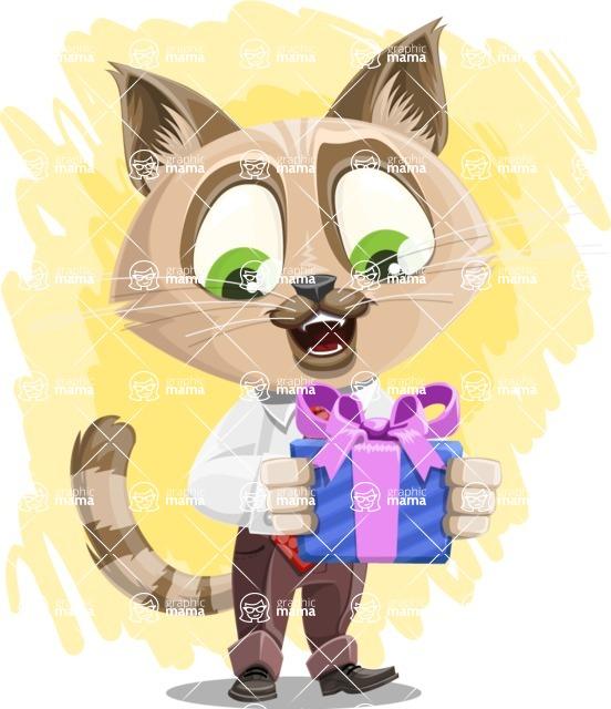 Business Cat Cartoon Vector Character AKA Tom Catson - Shape 7