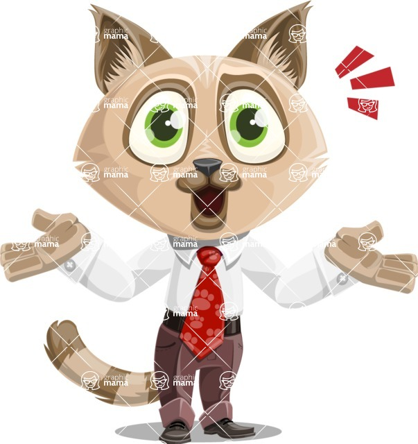 Business Cat Cartoon Vector Character AKA Tom Catson - Shocked