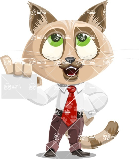 Business Cat Cartoon Vector Character AKA Tom Catson - Sign 1
