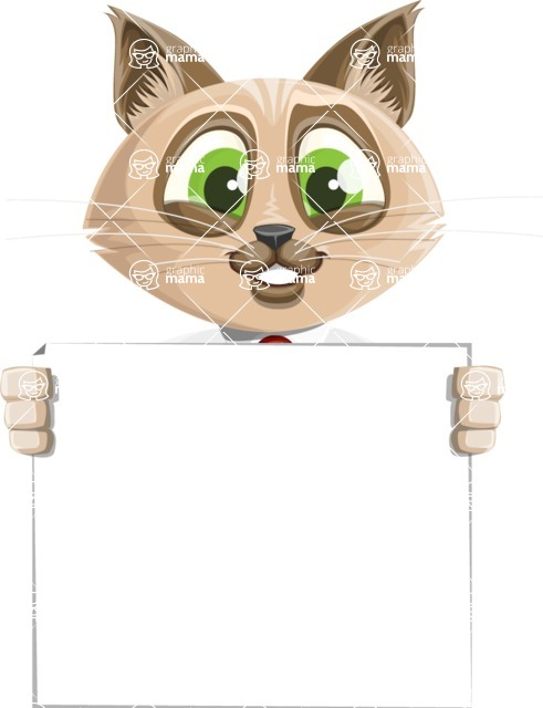 Business Cat Cartoon Vector Character AKA Tom Catson - Sign 5