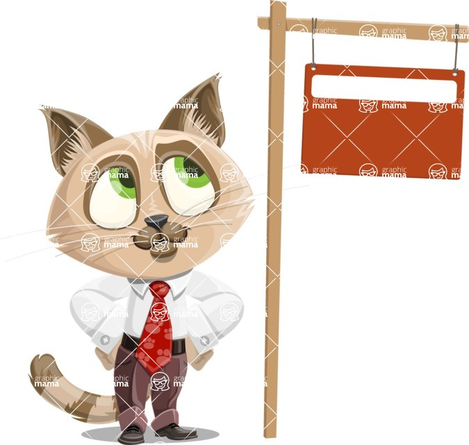 Business Cat Cartoon Vector Character AKA Tom Catson - Sign 9
