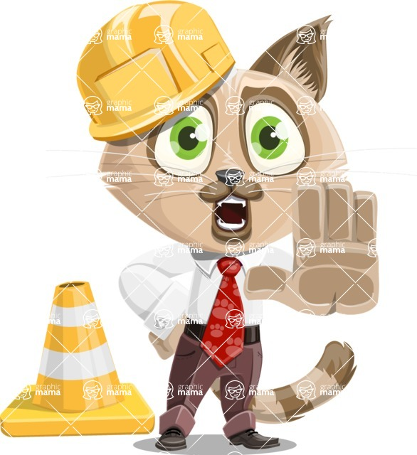 Business Cat Cartoon Vector Character AKA Tom Catson - Under Construction 1