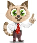 Business Cat Cartoon Vector Character AKA Tom Catson - Attention
