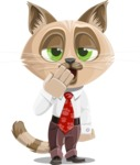 Business Cat Cartoon Vector Character AKA Tom Catson - Bored