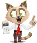 Business Cat Cartoon Vector Character AKA Tom Catson - Calculator
