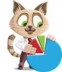 Business Cat Cartoon Vector Character AKA Tom Catson - Chart