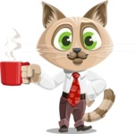 Business Cat Cartoon Vector Character AKA Tom Catson - Coffee
