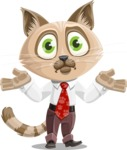 Business Cat Cartoon Vector Character AKA Tom Catson - Confused