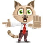 Business Cat Cartoon Vector Character AKA Tom Catson - Direct Attention