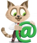 Business Cat Cartoon Vector Character AKA Tom Catson - Email
