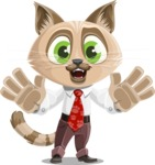 Business Cat Cartoon Vector Character AKA Tom Catson - Hello