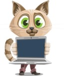 Business Cat Cartoon Vector Character AKA Tom Catson - Laptop 2