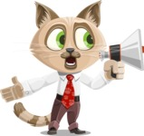 Business Cat Cartoon Vector Character AKA Tom Catson - Loudspeaker