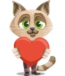 Business Cat Cartoon Vector Character AKA Tom Catson - Romantic Cat Cartoon Character