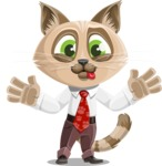 Business Cat Cartoon Vector Character AKA Tom Catson - Making Face