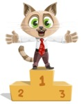 Business Cat Cartoon Vector Character AKA Tom Catson - On Top