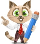Business Cat Cartoon Vector Character AKA Tom Catson - Pencil