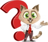 Business Cat Cartoon Vector Character AKA Tom Catson - Question