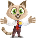 Business Cat Cartoon Vector Character AKA Tom Catson - Ribbon
