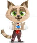 Business Cat Cartoon Vector Character AKA Tom Catson - Inloved Cat Cartoon Character