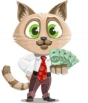 Business Cat Cartoon Vector Character AKA Tom Catson - Show me the Money